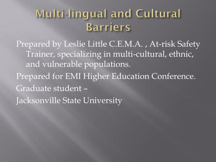 Multi-lingual and Cultural Barriers