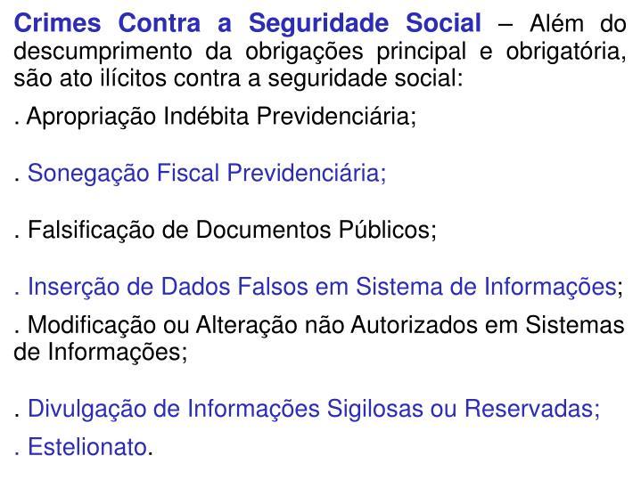 Crimes Contra a Seguridade Social