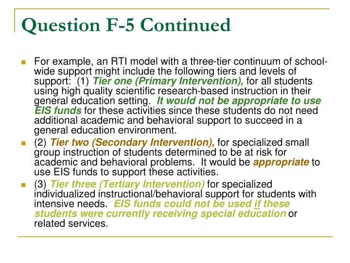 Question F-5 Continued