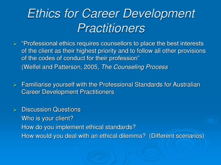 Ethics for Career Development Practitioners