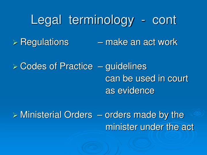 Legal  terminology  -  cont