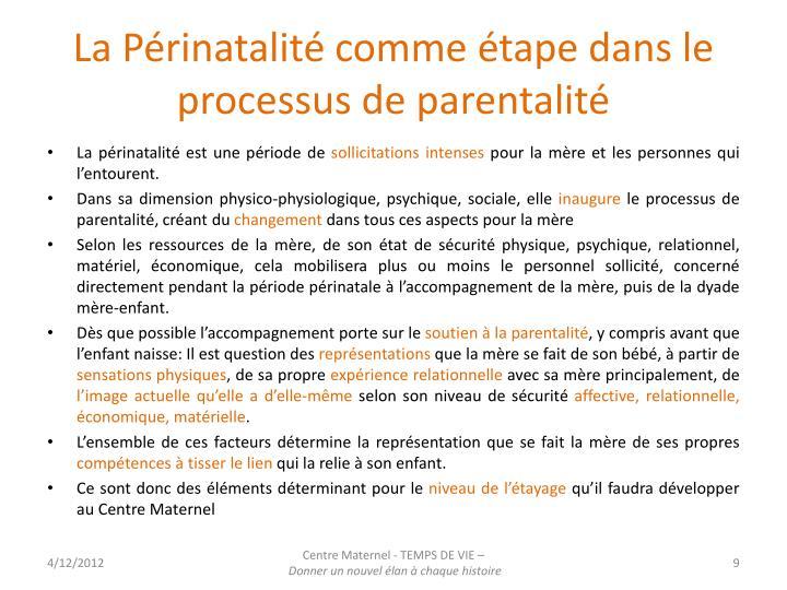 La Périnatalité comme étape dans le processus de parentalité