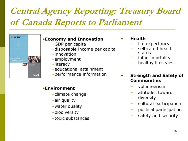 Central Agency Reporting: Treasury Board of Canada Reports to Parliament