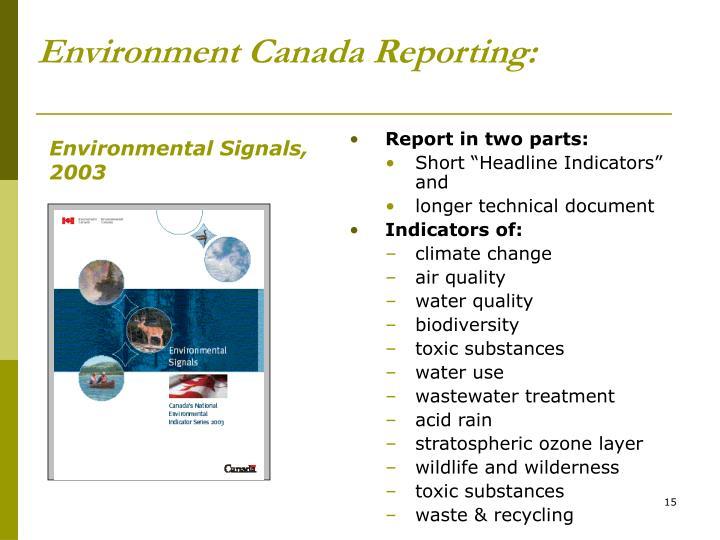 Environment Canada Reporting: