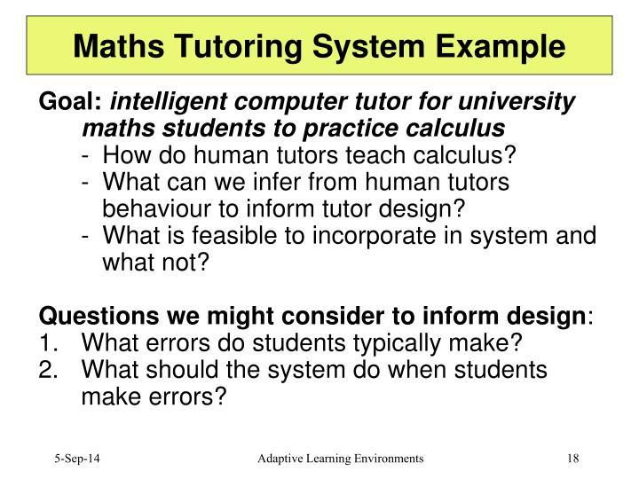 Maths Tutoring System Example