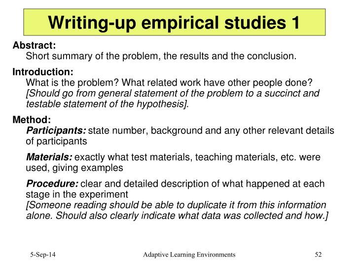 Writing-up empirical studies 1