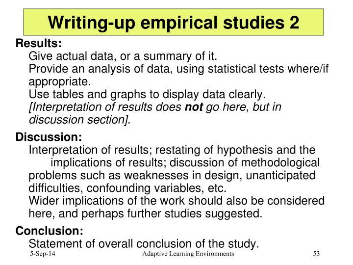 Writing-up empirical studies 2