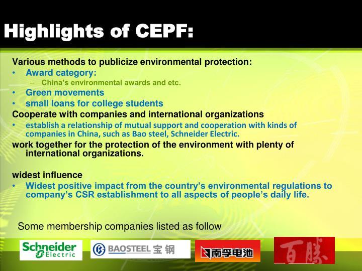 Highlights of CEPF: