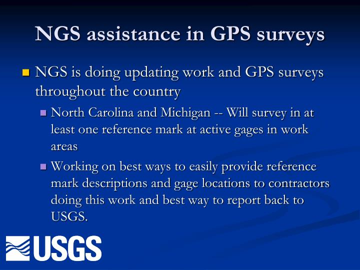 NGS assistance in GPS surveys