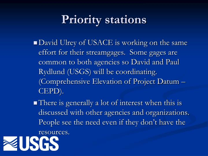 Priority stations