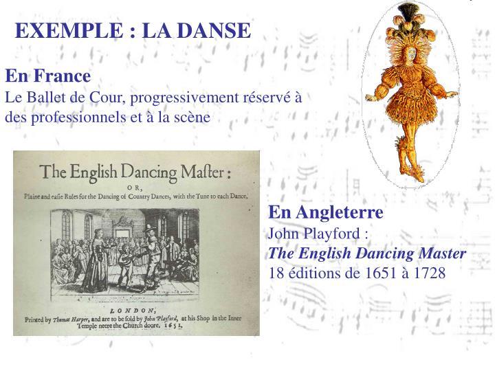 EXEMPLE : LA DANSE