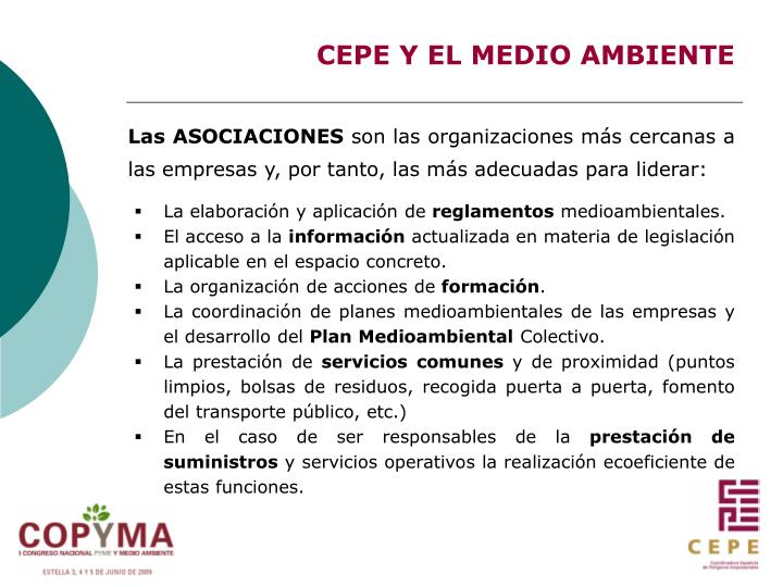CEPE Y EL MEDIO AMBIENTE