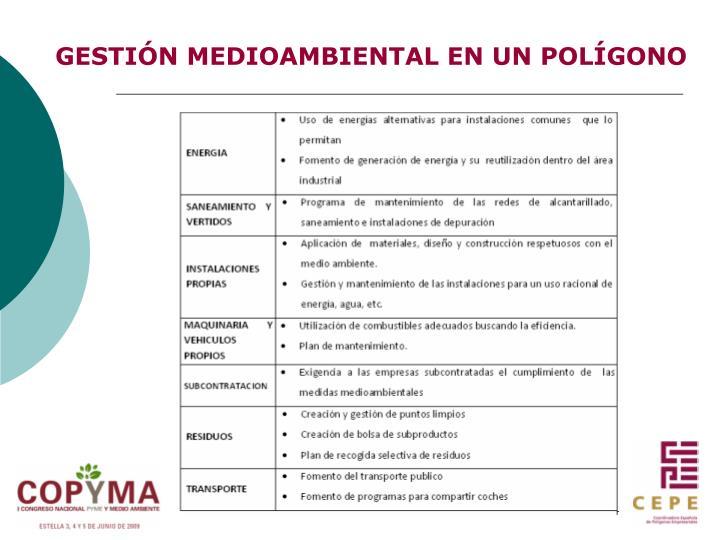 GESTIÓN MEDIOAMBIENTAL EN UN POLÍGONO