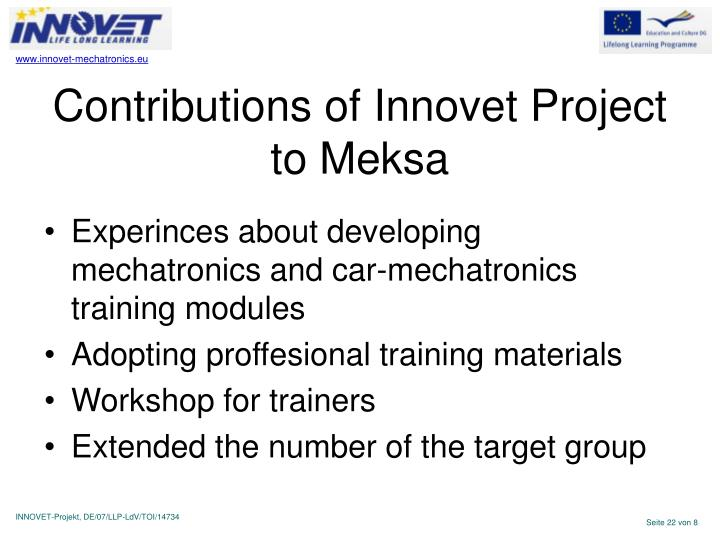 Contributions of Innovet Project to Meksa