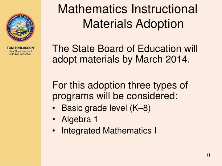 Mathematics Instructional Materials Adoption