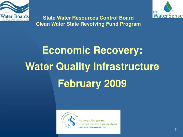economic recovery water quality infrastructure february 2009