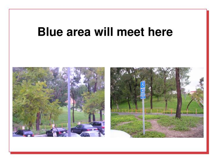 Blue area will meet here