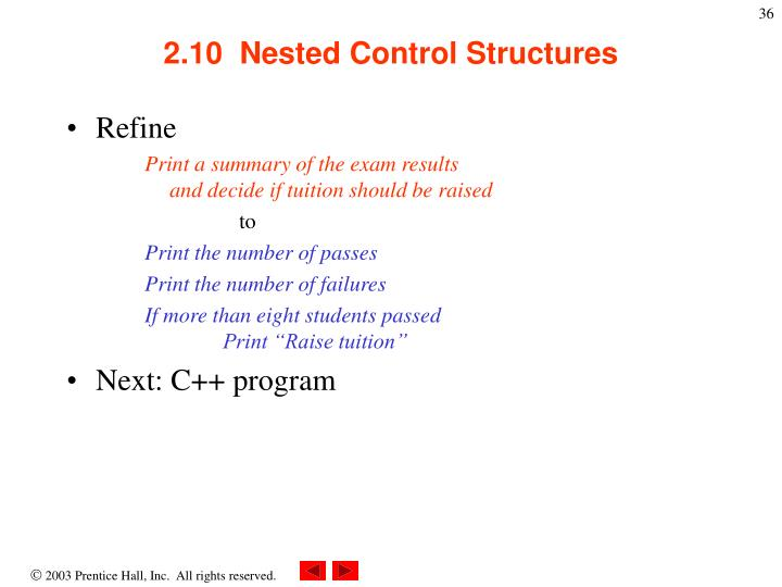 2.10  Nested Control Structures