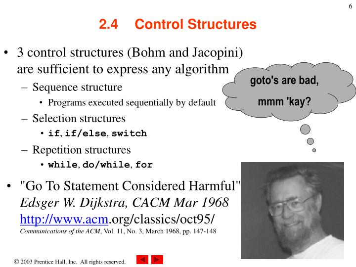 3 control structures (Bohm and Jacopini)