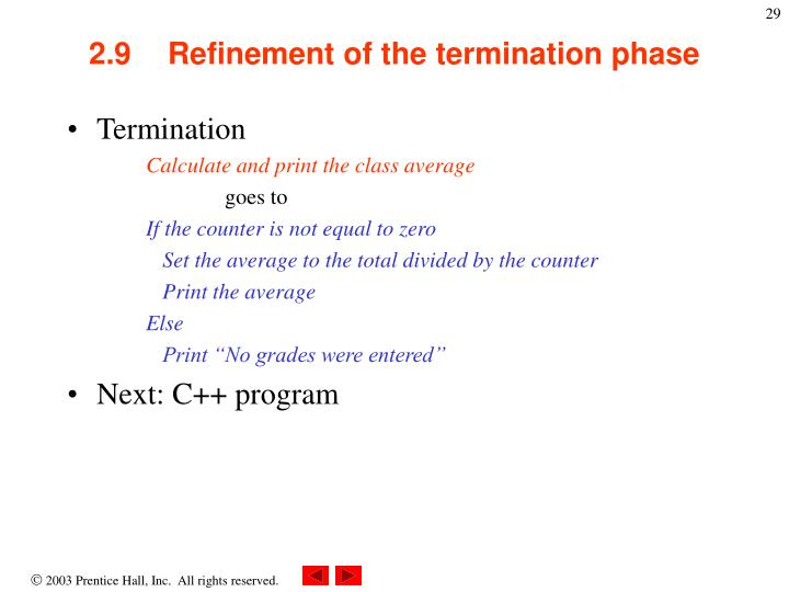 2.9Refinement of the termination phase