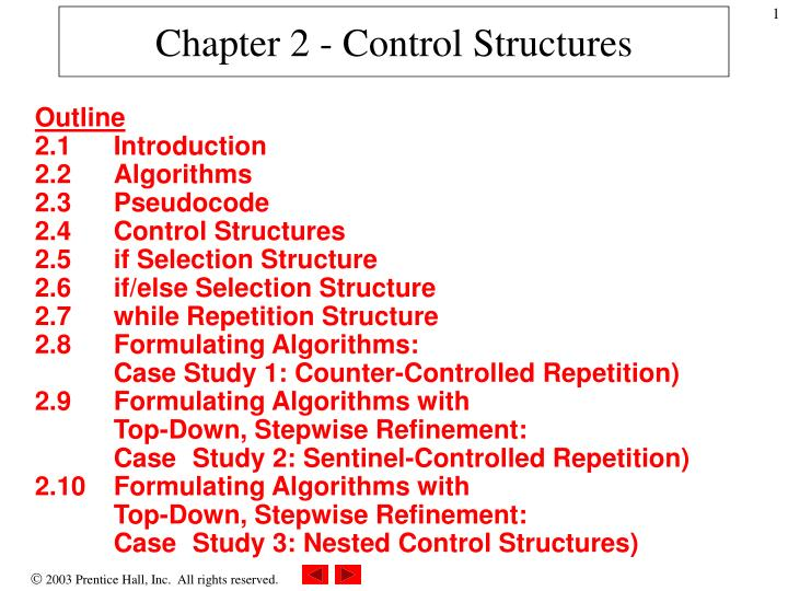 Chapter 2 control structures