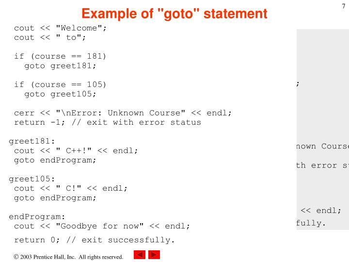 """Example of """"goto"""" statement"""