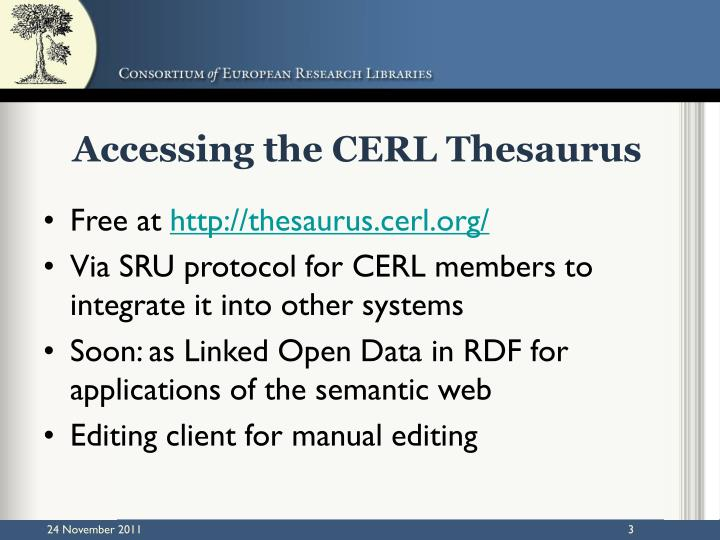 Accessing the cerl thesaurus
