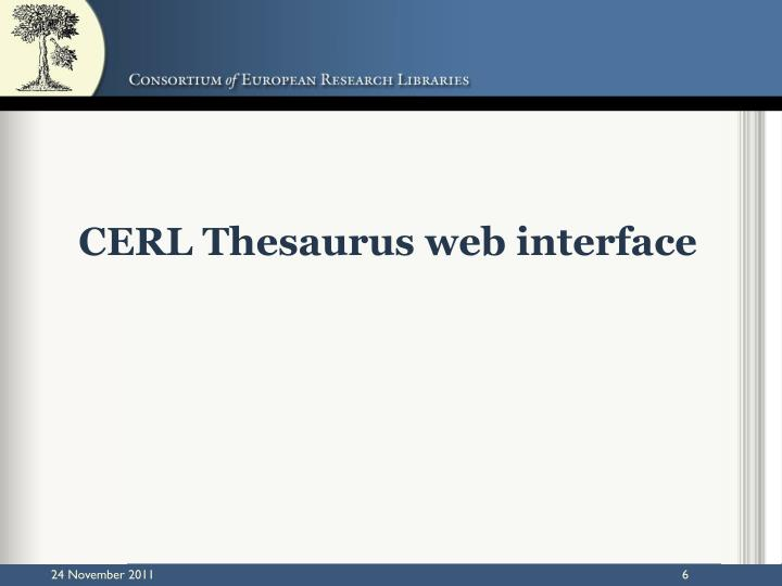 CERL Thesaurus web interface