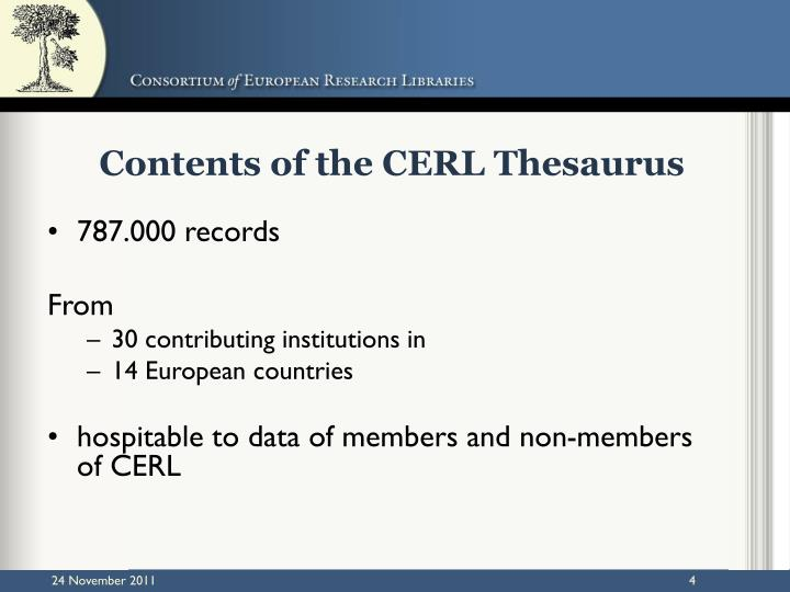 Contents of the CERL Thesaurus