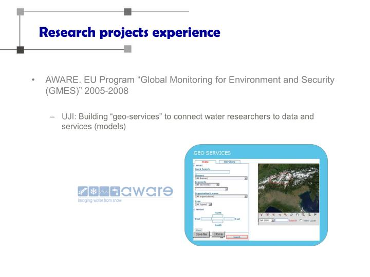 Research projects experience