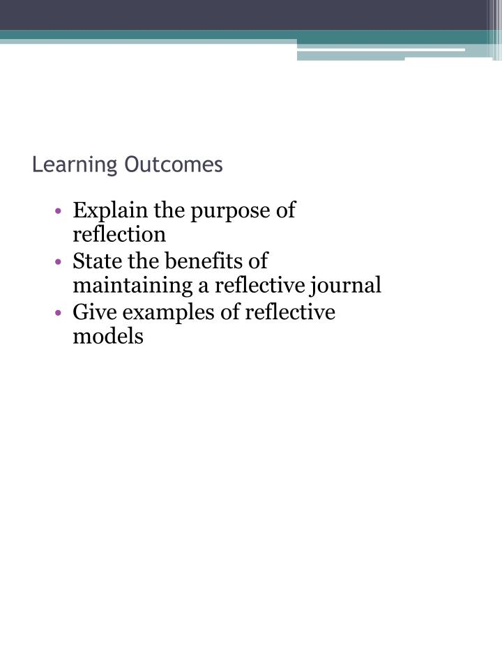 the purpose of reflection