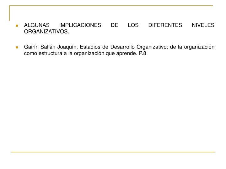 ALGUNAS IMPLICACIONES DE LOS DIFERENTES NIVELES ORGANIZATIVOS.
