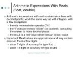 arithmetic expressions with reals float double
