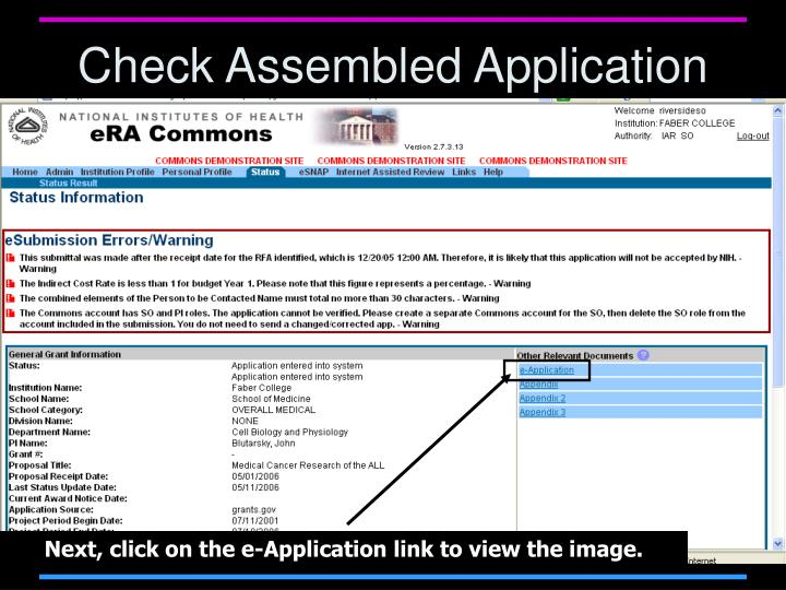 Check Assembled Application