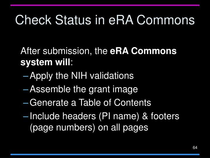 Check Status in eRA Commons