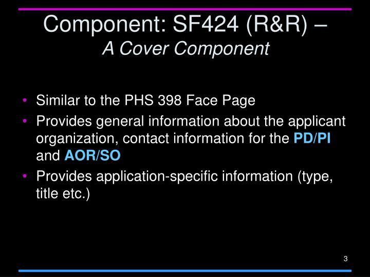 Component sf424 r r a cover component