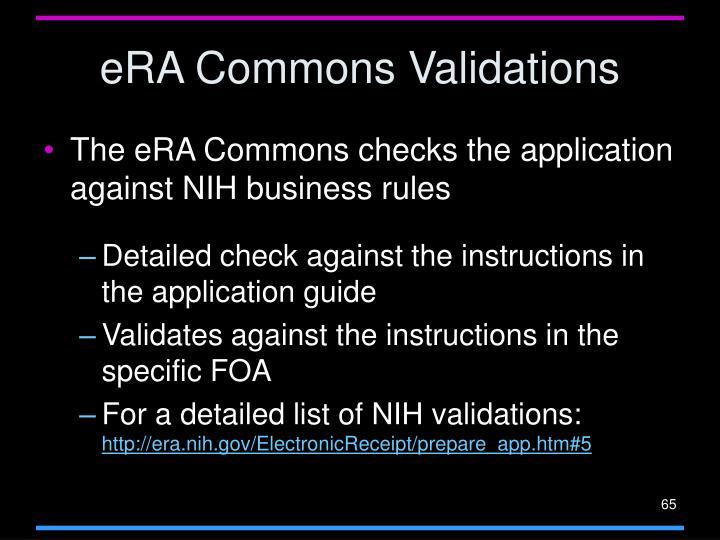 eRA Commons Validations
