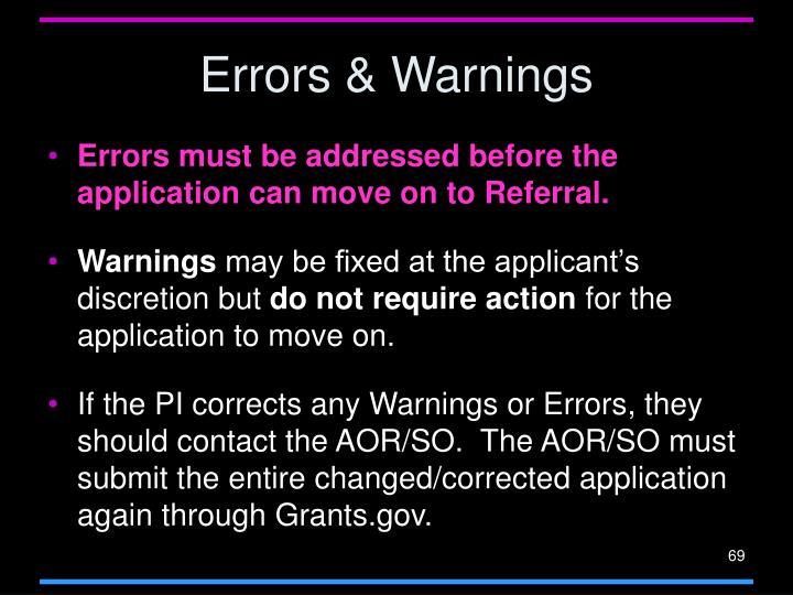 Errors & Warnings
