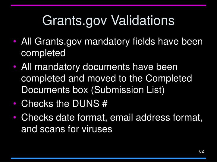 Grants.gov Validations