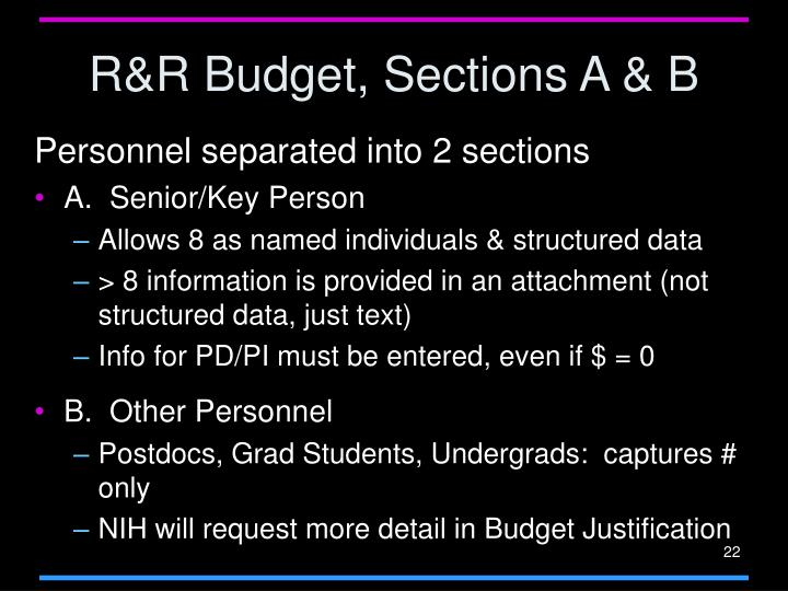 R&R Budget, Sections A & B