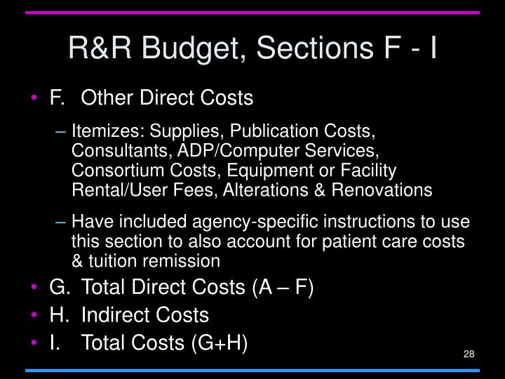 R&R Budget, Sections F - I