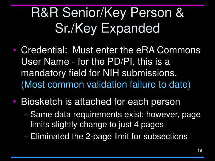 R&R Senior/Key Person & Sr./Key Expanded