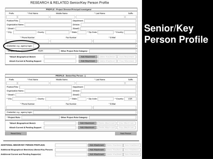 Senior/Key Person Profile