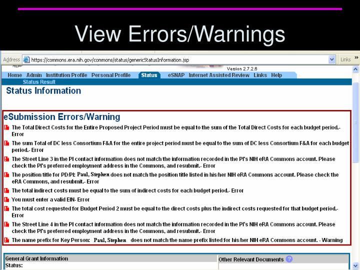 View Errors/Warnings