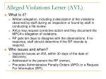 alleged violations letter avl