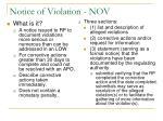notice of violation nov