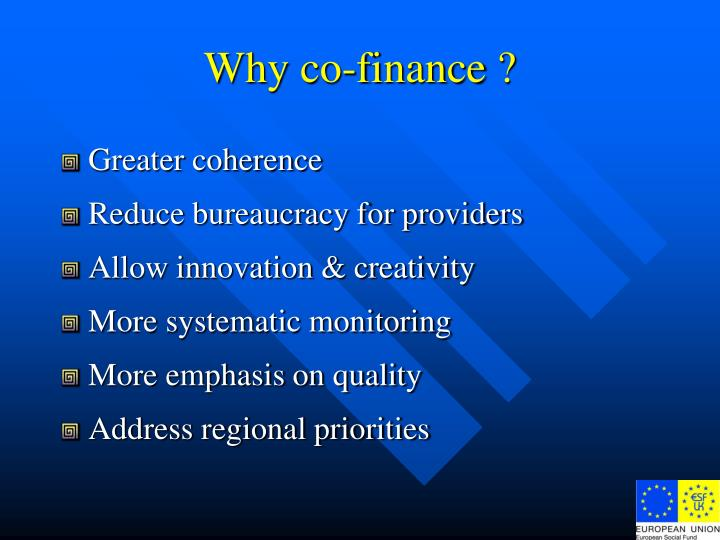 Why co-finance ?