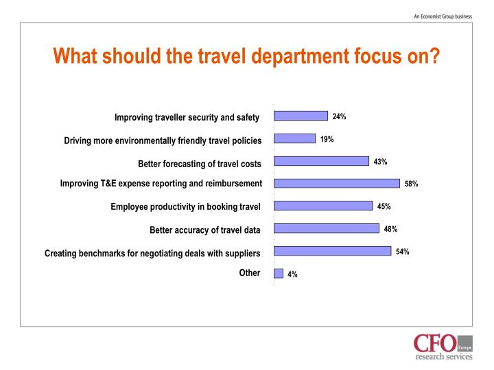 What should the travel department focus on?