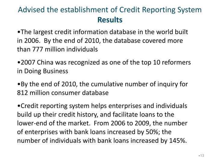 Advised the establishment of Credit Reporting System