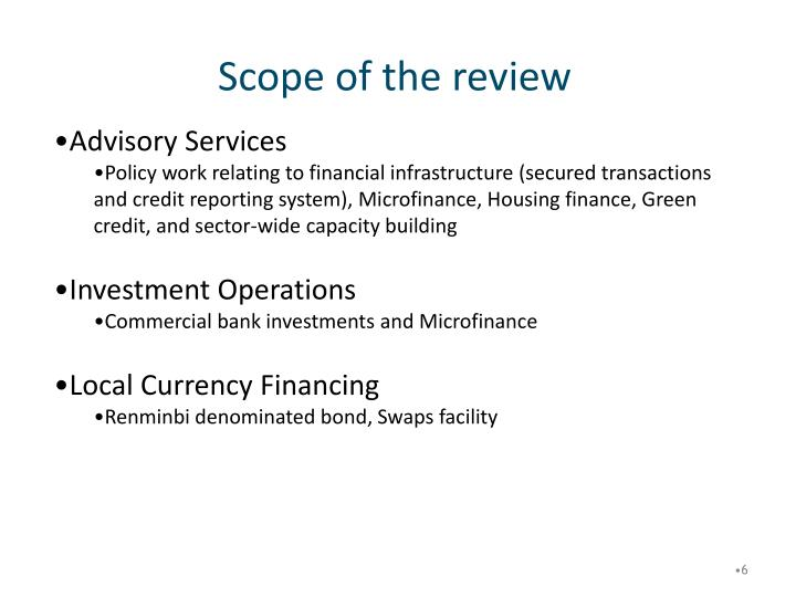 Scope of the review